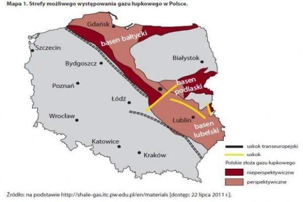 Mapa gazu łupkowego w Polsce