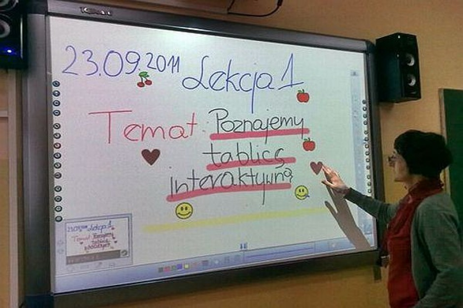 Interaktywna tablica w gimnazjum