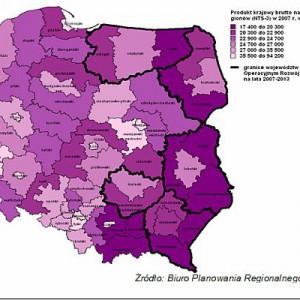 PKB na 1 mieszkańca wg podregionów w 2007 (mapa nr 1)