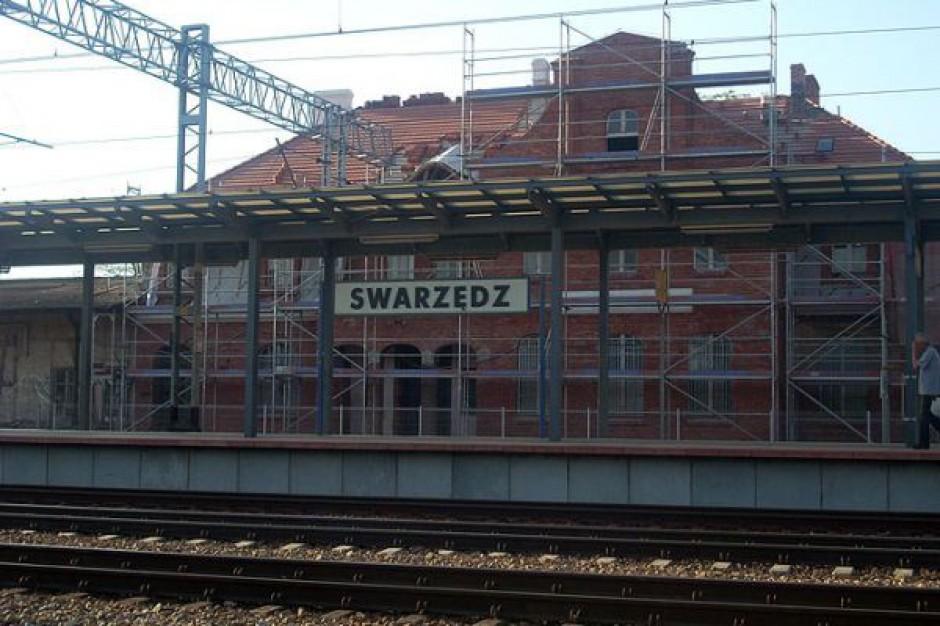 Zabytkowy dworzec w rusztowaniu