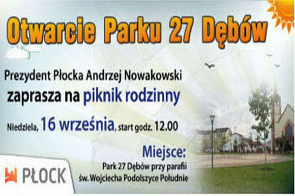 Otwarcie parku ku czci Jana Pawła II
