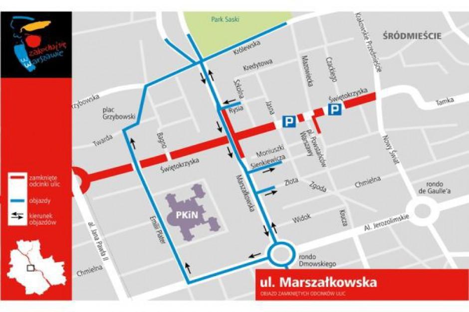 Fragment ul. Marszałkowskiej w Warszawie zamknięty