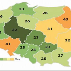 """Zadowolenie z usług powiatowego urzędu pracy w poszczególnych województwach (procent zsumowanych odpowiedzi """"raczej zadowolony"""" i """"bardzo zadowolony""""). Fot. www.parp.gov.pl"""