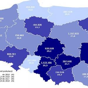 Liczba emerytów i rencistów według województw oraz jako odsetek populacji mieszkańców w 2011 r.