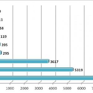 """Wykres przedstawia rozłożenie ilościowe rozstrzygniętych przetargów według kryterium """"przedmiot przetargu"""" (cały wynik dotyczył branży medycznej)."""