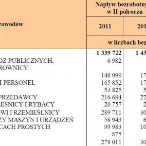 Napływ bezrobotnych wg wielkich grup zawodowych w II półroczu 2011 i 2012 roku.