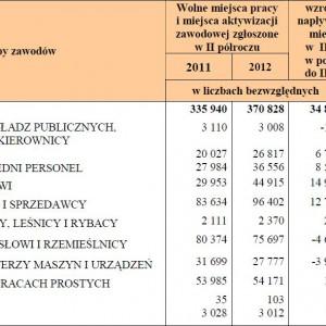 Liczba wolnych miejsc pracy i miejsc aktywizacji zawodowej zgłoszonych w II półroczu 2011 i 2012 roku oraz w końcu 2012 r. wg wielkich grup zawodowych.