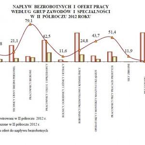 Napływ bezrobotnych i ofert pracy według grup zawodów i specjalności w II półroczu 2012 r.