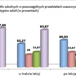 Funkcjonowanie świetlic szkolnych w poszczególnych przedziałach czasowych wg typów szkół (w procentach).