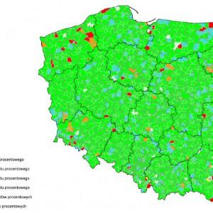 Spełnienie relacji z art. 243 na 2014 r. z uwzględnieniem składnika średniej z trzech lat zmodyfikowanej do postaci [Db-(Wb-O)+Dsm]/D przez gminy i miasta na prawach powiatu.