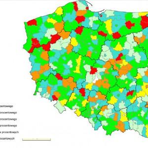 Spełnienie ustawowej relacji z art. 243 na 2014 r. przez powiaty i miasta na prawach powiatu.