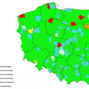 Spełnienie relacji z art. 243 na 2014 r. z uwzględnieniem składnika średniej z trzech lat zmodyfikowanej do postaci [Db-(Wb-O)+Dsm]/D przez powiaty i miasta na prawach powiatu.