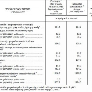Pracujący, przeciętne zatrudnienie oraz przeciętne miesięczne wynagrodzenie brutto w gospodarce narodowej według sektorów własności w i kwartale 2013 r.