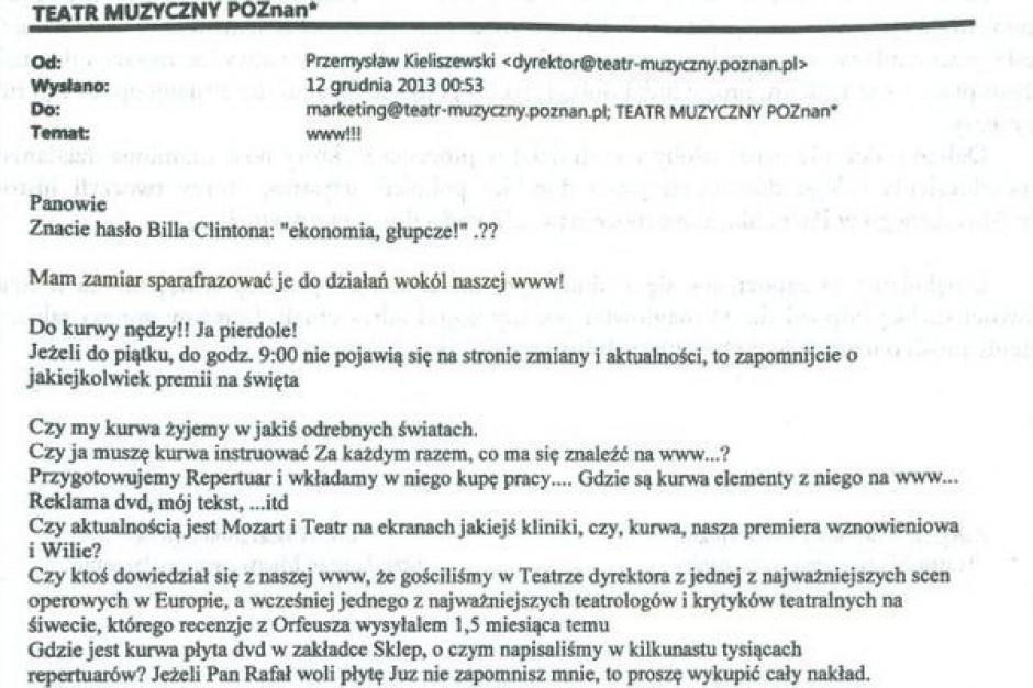 Dyrektor poznańskiej operetki do pracowników: Do k... nędzy!! Ja pier...!