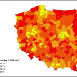Spadek liczby uczniów gimnazjum w latach 2007-2012