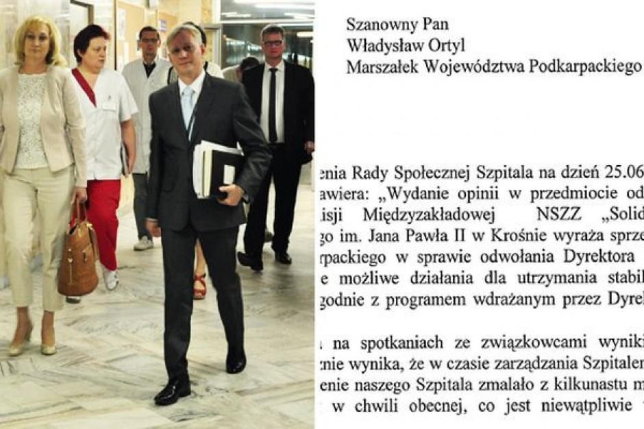 Nieznane powody odwołania dyrektora szpitala w Krośnie przez podkarpackiego marszałka