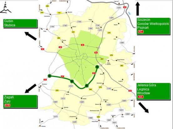 Obwodnica o długości ok. 12 km pobiegnie od węzła drogowego trasy S3 do istniejącej obwodnicy północnej (fot. UM Zielona Góra)