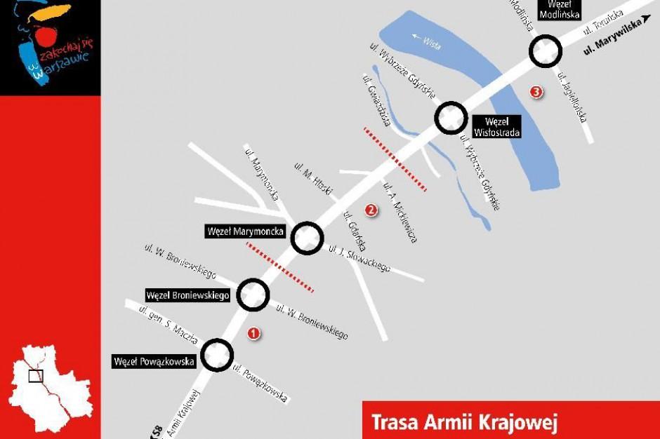 Warszawa, utrudnienia: Zmiany w organizacji ruch na trasie Armii Krajowej.