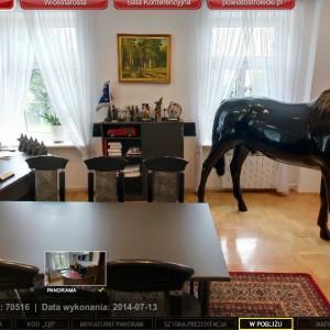 Koń stoi w gabinecie starosty, naprzeciw biurka (fot. wirtualny spacer - powiat ostrołęcki)