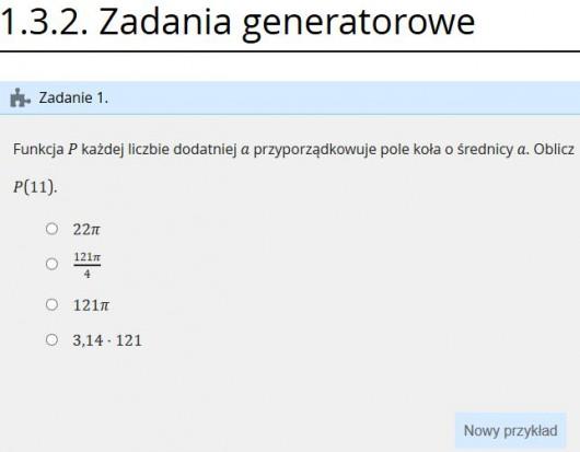 E-podręcznik, matematyka: zadania generatorowe