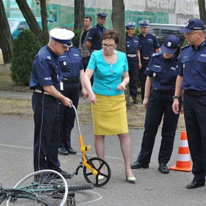 Na spotkaniu odbyły się takżećwiczenia dotyczące kryminalistycznych czynności na miejscu wypadku drogowego (fot.csp.edu.pl)