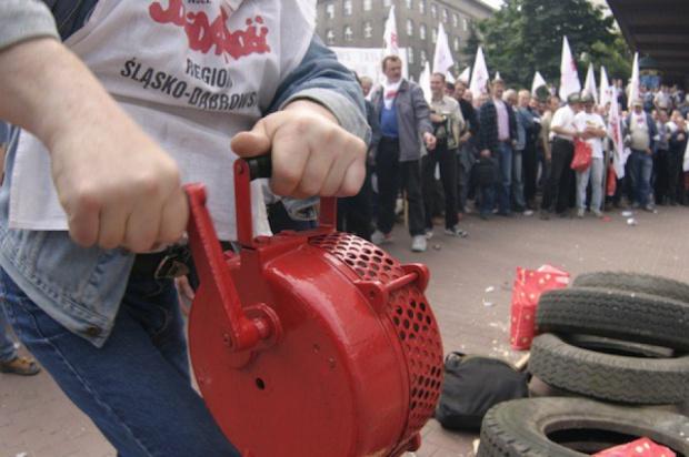 Protest związkowców w Warszawie