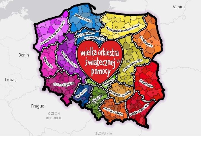 Mapa 24 Finału WOŚP (fot.woodstock.maps.arcgis.com)