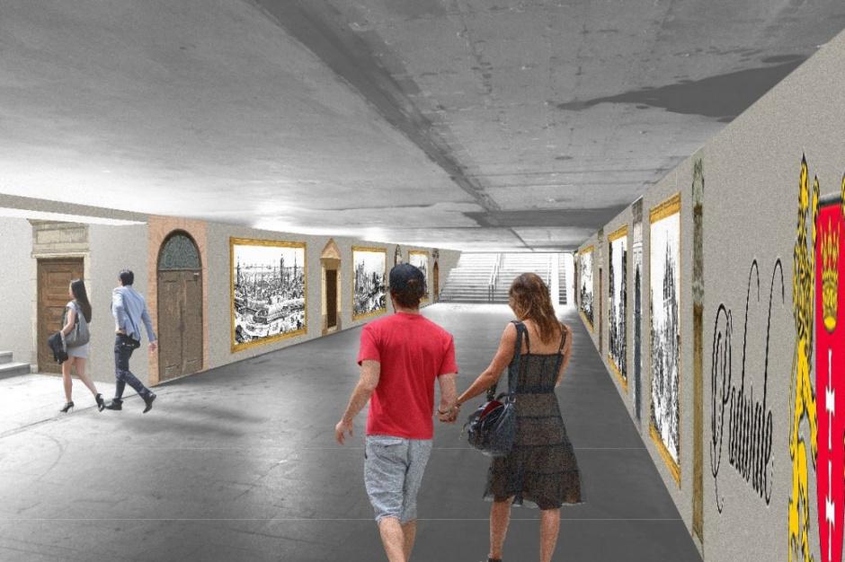 Gdańsk, konkurs na aranżację przejścia podziemnego: Wygrał mural zainspirowany historią miasta