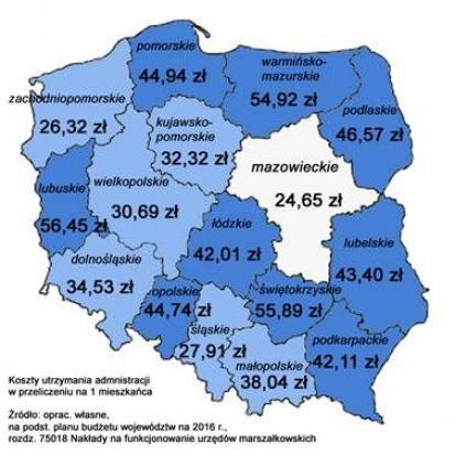 Koszty utrzymania administracji wojewódzkiej w przeliczeniu na jednego mieszkańca (źródło MUM)