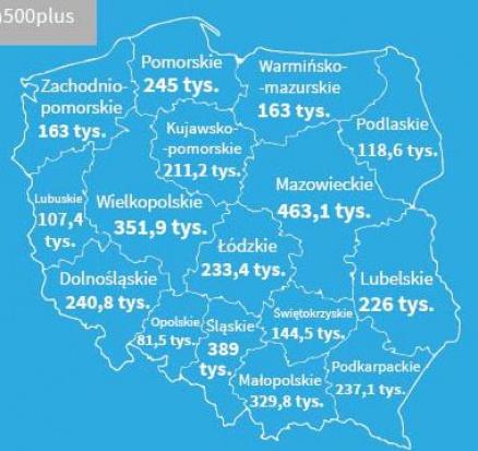 Ilość dzieci objętych programem 500+ w województwach