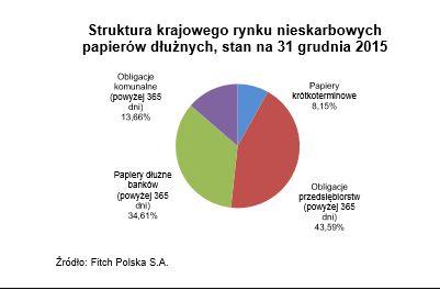 Struktura krajowego rynku nieskarbowych papierów dłużnych (stan na 31 grudnia 2015). Źródło: Fitch Polska