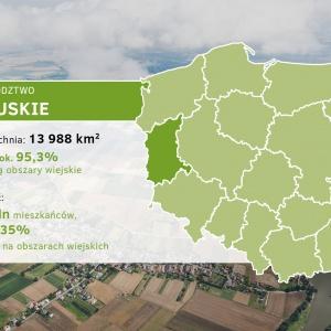 Województwo lubuskie    W latach 2011-2014 rozkład ludności pomiędzy terenami miejskimi i wiejskimi w regionie wynosił 63 i 37 proc. W 2015 r. nastąpiło zwiększenie się liczby ludności miast (a co za tym idzie – spadek ludności wiejskiej), ale było to spowodowane tym, że miasto Zielona Góra w wyniku decyzji administracyjnej wchłonęło wszystkie miejscowości gminy Zielona Góra.   Ziemia Lubuska uznawana jest za zagłębie winiarstwa. Wizytówką województwa i markowym produktem jest Lubuskie Centrum Winiarstwa w Zaborze, działające od ubiegłego roku, wraz z największą w Polsce winnicą samorządową. Centrum jest również miejscem promocji lubuskich produktów tradycyjnych. Wizytówką regionu są także liczne mniejsze winnice, które zapraszają gości w czasie Dni Otwartych Winnic na trunki i przysmaki własnej produkcji – co zostało podkreślone w strategii wojewódzkiej.   – Biorąc pod uwagę istniejące w województwie walory przyrodnicze (wysoka lesistość, duża liczba jezior, znajdujące się na terenie województwa parki narodowe, parki krajobrazowe, rezerwaty przyrody itp.) i walory kulturowe, ważnym filarem rozwoju społeczno-gospodarczego powinna stać się turystyka. W odniesieniu do obszarów wiejskich na myśli mamy agroturystykę oraz enoturystykę. Stąd niezmiernie ważne są działania m.in. w kierunku efektywnej promocji, modernizacji bazy turystycznej i agroturystycznej, zwiększenia atrakcji kulturalnych, prowadzenie działań w kierunku rozwoju istniejących i zakładanie nowych winnic i winiarni - wymienia dyrektor Departamentu Rolnictwa Środowiska i Rozwoju Wsi Wojciech Kozieja.   Jak podaje Urząd Marszałkowski, zagadnienia związane z rolnictwem i rozwojem obszarów wiejskich zostały ujęte w celach strategicznych oraz w celach operacyjnych Strategii Rozwoju Województwa Lubuskiego 2020 przyjętej w 2012 r.