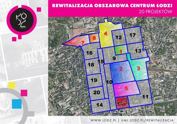 Mapa priorytetowych projektów rewitalizacji obszarowej w centrum Łodzi (fot.uml.lodz.pl)