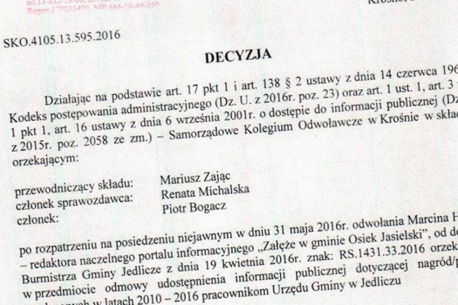Czy gmina Jedlicze ujawni wykształcenie pracowników urzędu?