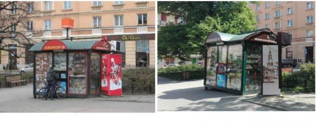 Eurokioski - miastu udało się przekonać spółkę do rezygnacji z krzykliwej czerwieni, zarówno na szyldach, jak i lodówkach z napojami, co znacznie poprawiło ich estetykę i pozwoliło wyeksponować architekturę i zieleń (fot.poznan.pl)