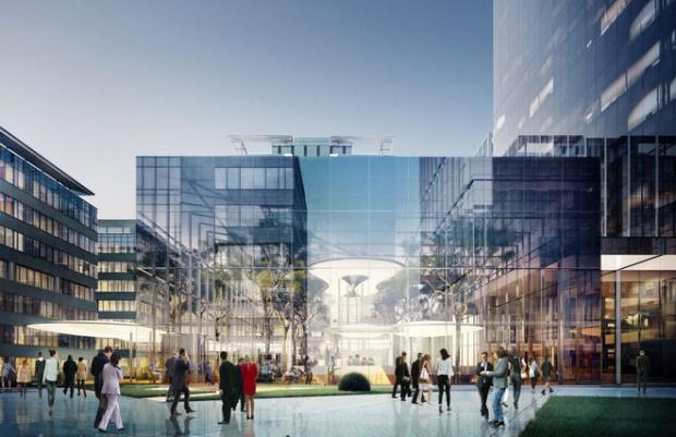 Budynek będzie połączony z przeszklonym ogrodem zimowym, który powstanie na wewnętrznym patio z zielenią i fontannami (fot.mat.inwestora)