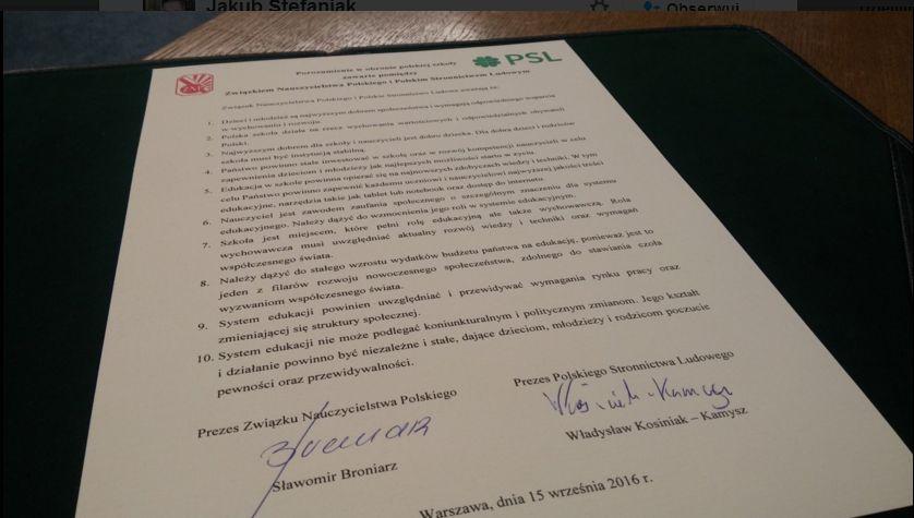 Porozumienie PSL i ZNP (fot.twitter)