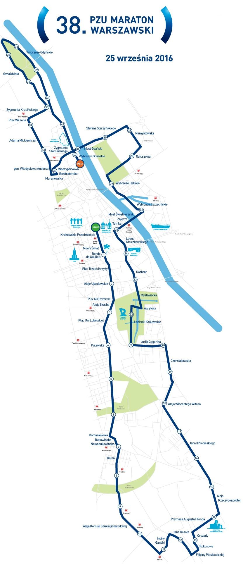 Trasa maratonu (fot.pzumaratonwarszawski.com)