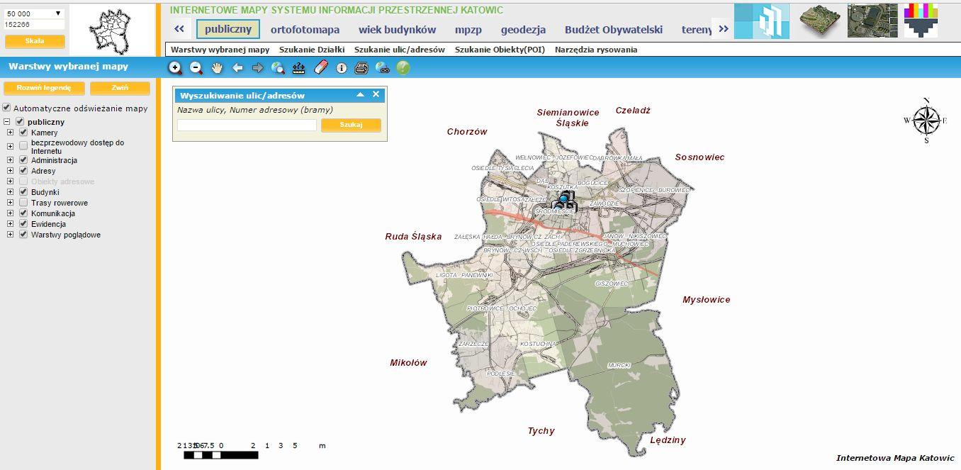 Internetowa mapa Katowic (źródło: mapserver.um.katowice.pl)