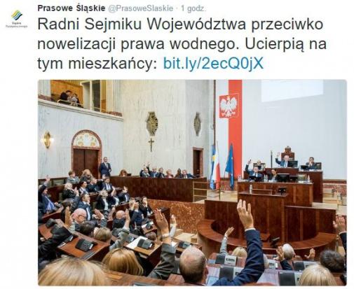 Śląscy radni nie chcą zmian w prawie wodnym i apelują do rządu (fot.twitter.com/PrasoweSlaskie)