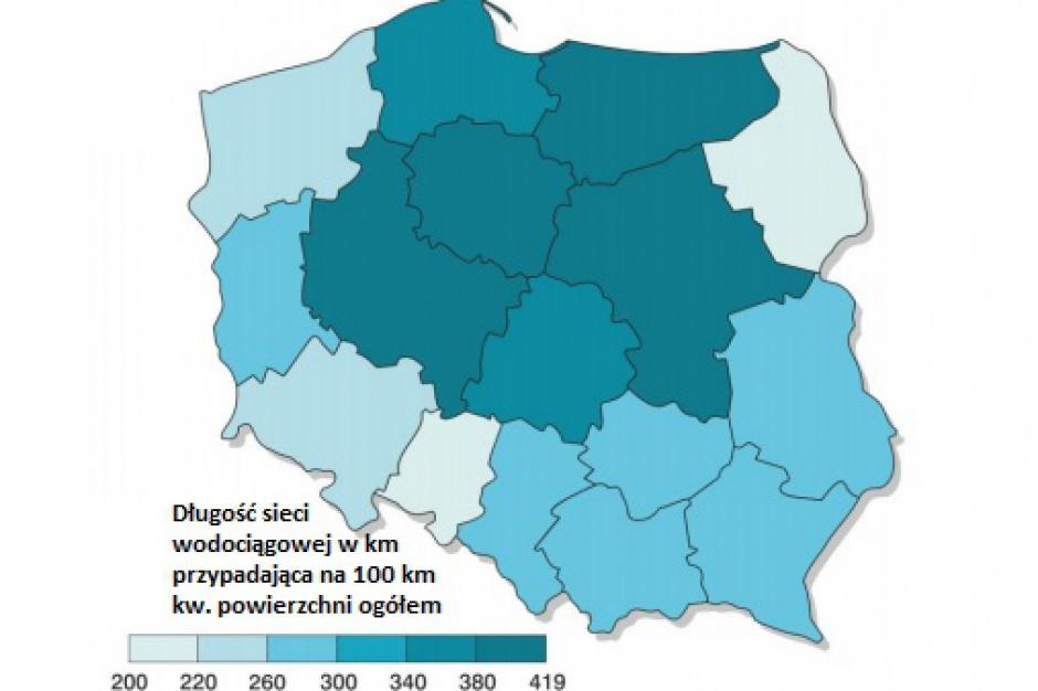Sieci wodociągowe i kanalizacja w Polsce: Regiony poczyniły spory postęp