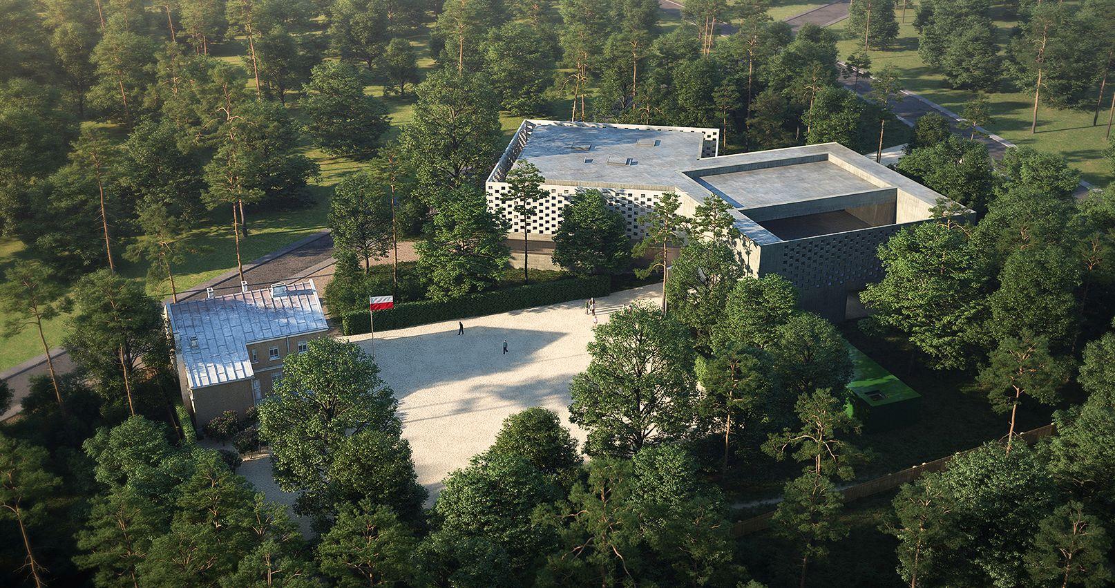 Nowy budynek Muzeum Józefa Piłsudskiego w Sulejówku z lotu ptaka. Fot. Platige Image