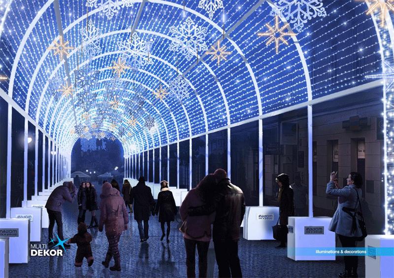 Tunel świetlny będzie stanowić atrakcję i zimową wizytówkę Radomia (fot.radom.pl)