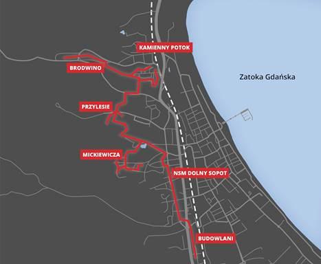 Mapa przebiegu sieci (źródło: sopot.pl)
