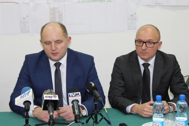 Konferencja nt. szpitali z udziałem marszałka P. Całbeckiego i prezydenta Włocławka M. Wojtkowskiego (fot.mat.pras.)