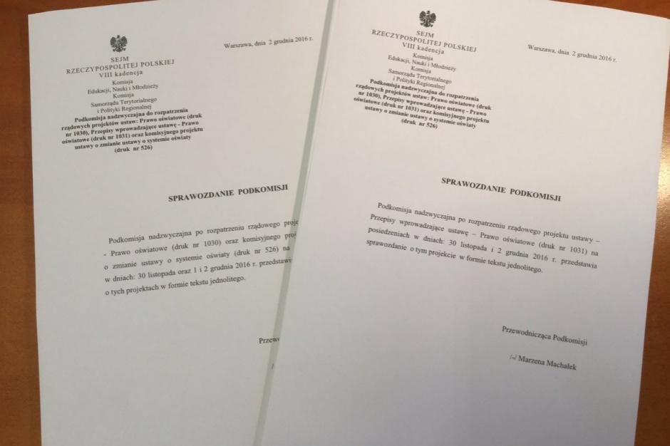 Reforma oświaty i likwidacja gimnazjum: Ostatnie spotkanie podkomisji