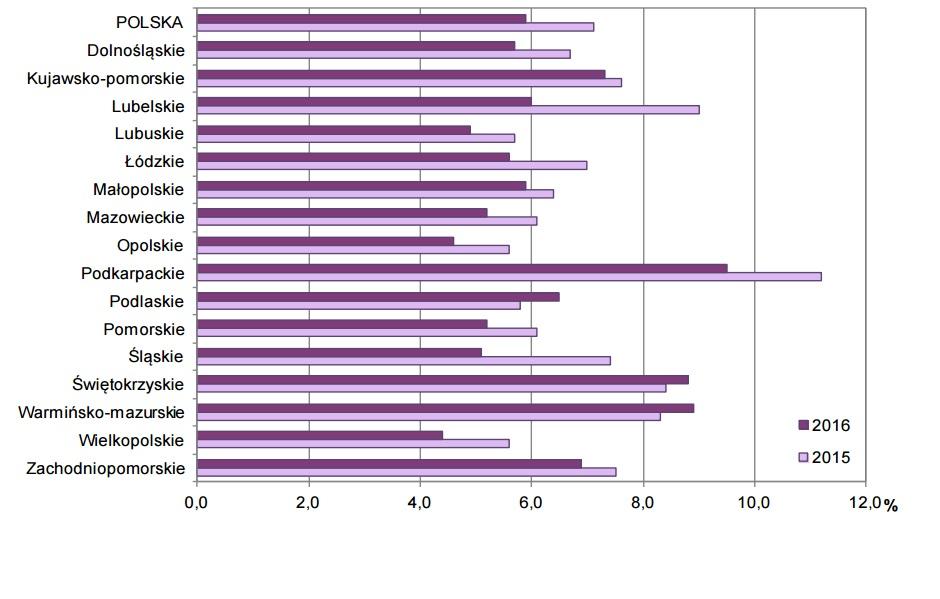Stopa bezrobocia według BAEL w III kwartale. (grafika: GUS)