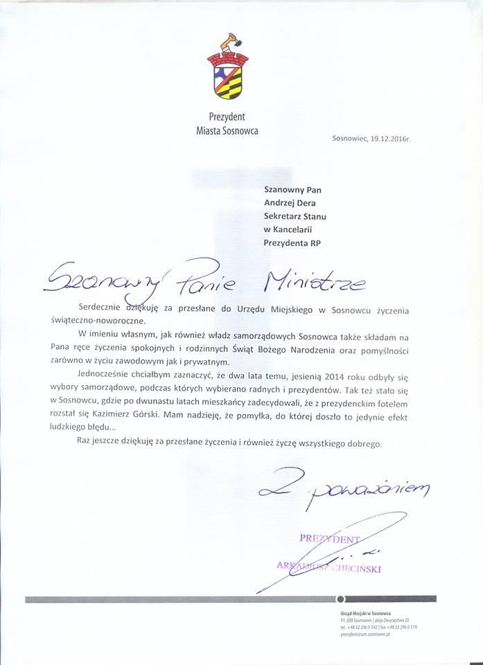 Pismo prezydenta Sosnowca do kancelarii ministra Dery. (Fot. facebook.com)