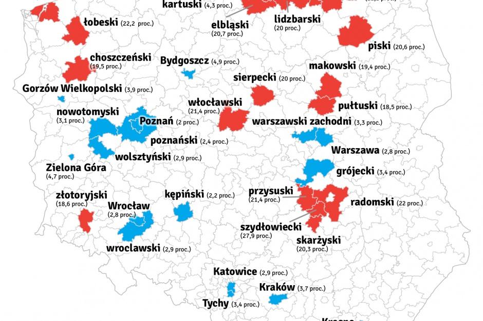 Mapa bezrobocia w Polsce: 20 powiatów z największym i 20 z najmniejszym