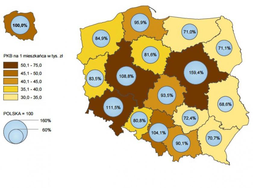 Produkt krajowy brutto na 1 mieszkańca według województw w 2015 r. - ceny bieżące. (źródło: GUS)